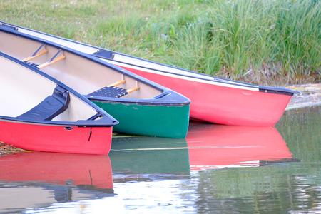 jeune: Canoes on Lac Le Jeune Stock Photo