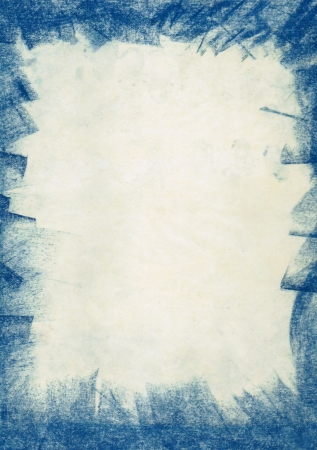 grunge background with blue charcoal brush frame