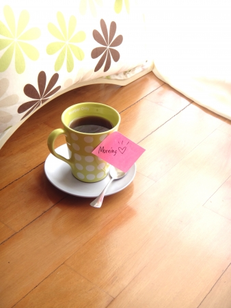 soft light morning coffee with lovely note Stock Photo - 17345135
