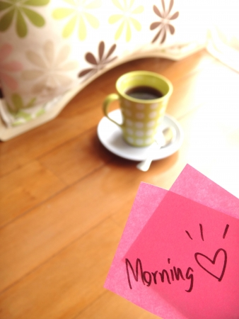 Light morning coffee with lovely note Stock Photo - 17345126