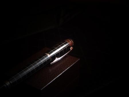 precious pen in dark             Stock Photo