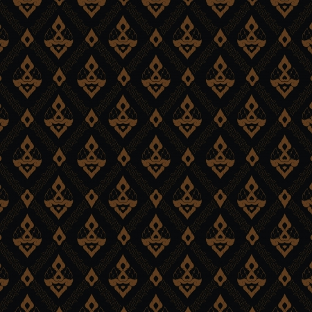 Thai traditional painting wallpaper in black and gold Stock Vector - 17362991