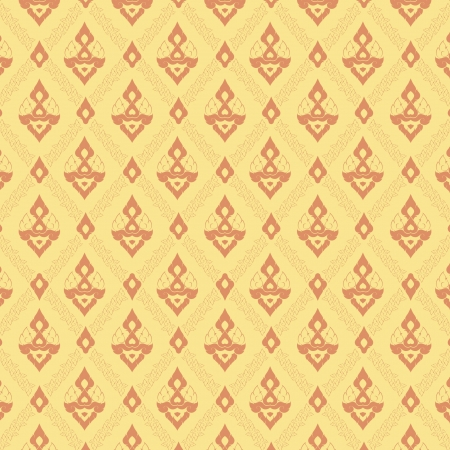 Thai traditional painting wallpaper in yellow  Illustration