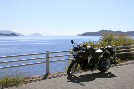 Motorcycle with Yamaguchi Prefecture on the coast