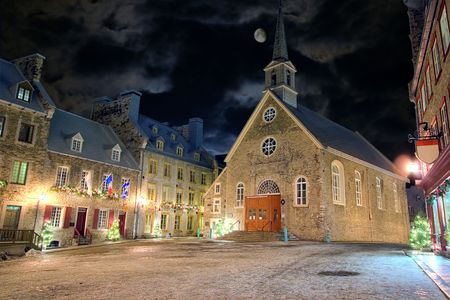 Christmas night at one of the squares of the old town in Quebec, Canada