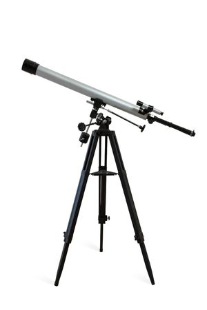 tripod mounted: Telescope mounted on a tripod isolated on white. Clipping path included.