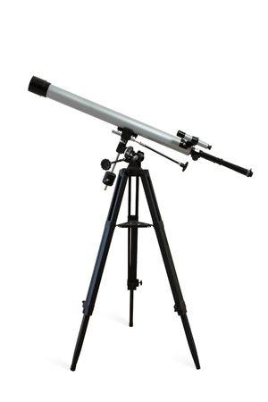 Teleskop montiert auf einem Stativ isoliert auf weiß. Clipping-Pfad enthalten. Lizenzfreie Bilder