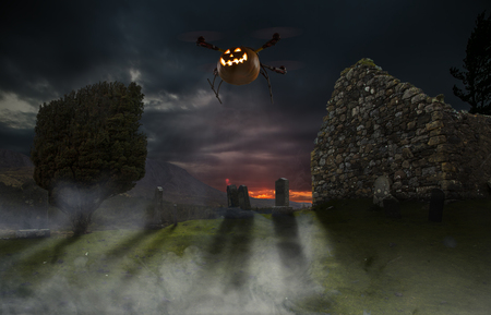 Halloween pumpkin installed on a drone flying over an old cemetery.