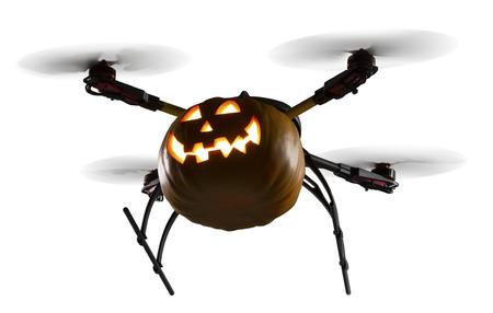 Eine fliegende Drohne als Halloween-Kürbis auf weißem Hintergrund verziert. Lizenzfreie Bilder