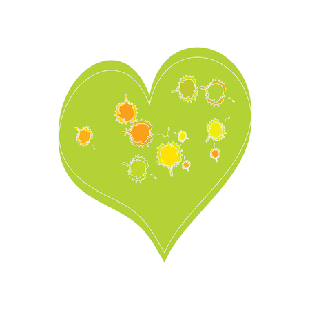 Stained Colorful Green Heart Vector Illustration. Funky heart-stained paints. Children style drawing