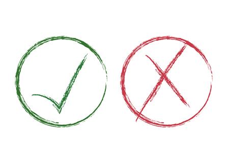 Grunge Red X und grüne Häkchen, Genehmigungszeichen Design. Rote X- und grüne OK-Symbolsymbole in Kreis-Kontrollkästchen. Pinsel gemalte Heckmarken, Auswahloptionen, Test-, Quiz- oder Vermessungszeichen.