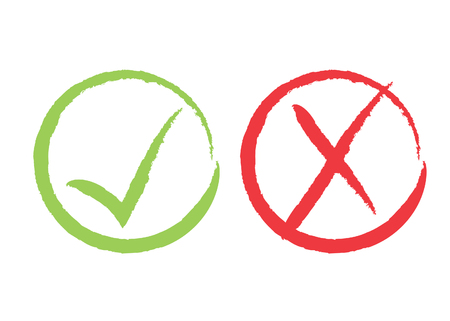 Grunge Red X and green tick check marks, approval signs design. Red X and green OK symbol icons in circle check boxes. Brush painted heck list marks, choice options, test, quiz or survey signs.