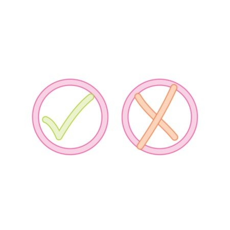 Acceptance and rejection symbol vector buttons for vote, election choice. Circle neon stroke borders. Symbolic OK and X icon isolated on white. Neon tick and cross signs, check marks design.