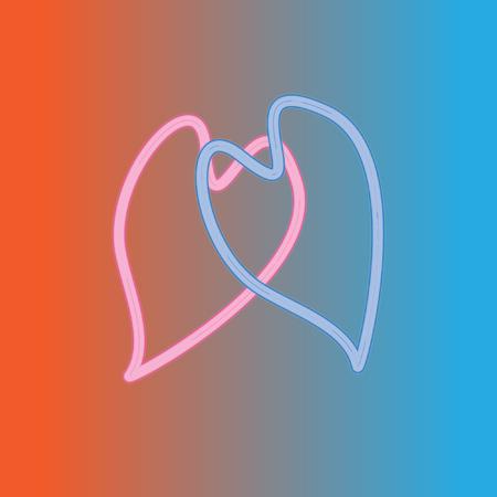 Le coeur rose et bleu sont unis dans le signe de l'infini. Illustration symbolique originale de l'amour éternel, de la fidélité, de l'amitié. Design minimaliste frais. Formes d'amour au néon rouge et bleu