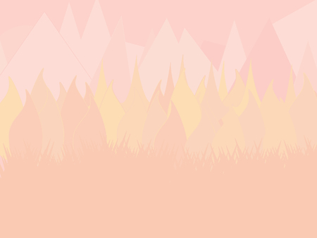 Mountain and forest landscape. Panoramic view of mountains and forest in muted color tones. Wild nature landscape with mountains, trees and grass. Stylish Flat Nature Background