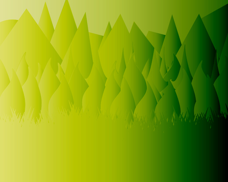 Beautiful Monophonic Landscape Flat Design. Mountains, Forest and Grass Stylish Vector Illustration. Ilustrace