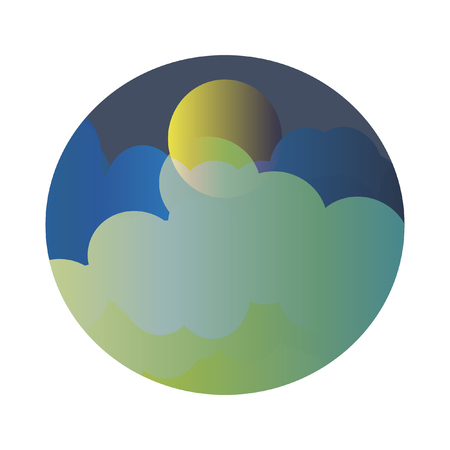 Bright Full Moon Behind The Glowing Clouds Original Flat Vector Illustration. Colorful glowing clouds partially cover the moon. Round Shape Landscape Image. Minimal Flat Design