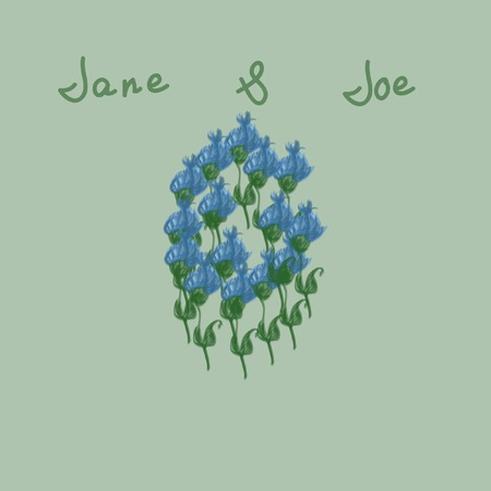 Retro invitation with hand drawn blue flowers. Beautiful card template for save the date, wedding invites, greeting cards, postcards