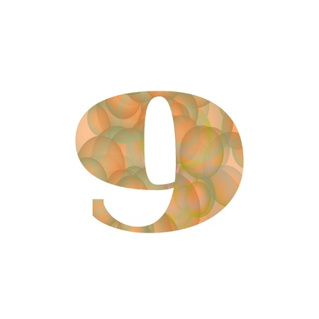 Digit Nine Textured With Colorful Transparent Bubbles Isolated on White. Original Vector Illustration