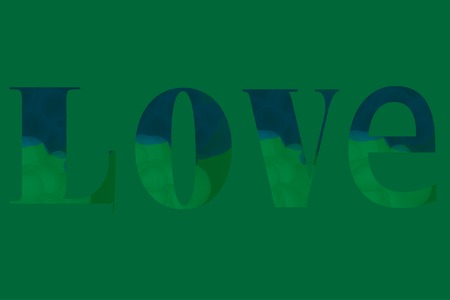 Stylish Love Word Letters with Bubbles Texture. Vector Illustration. Word Love on Green Texture.