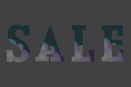 Stylish vector illustration. Word SALE consisting from transparent colorful bubbles on grey background. Flat style elements. Perfect for sales, discount, retails. Violet, blue-green, lilac colors