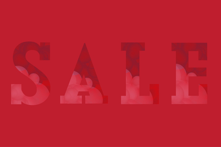 Stylish vector illustration. Word SALE consisting from transparent colorful bubbles on red background. Flat style elements. Perfect for sales, discount, retails. Pink and red colors