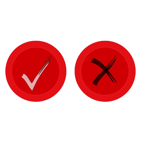 White Brush Check Marks on Round Red Buttons Original Vector Illustration. White tick and black cross check marks icons set. Illustration