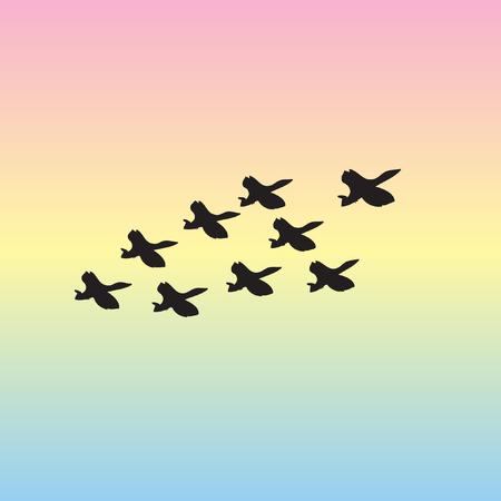 Gregge di oche selvatiche che volano nell'illustrazione di vettore originale del cielo. Stormo di uccelli nel cielo