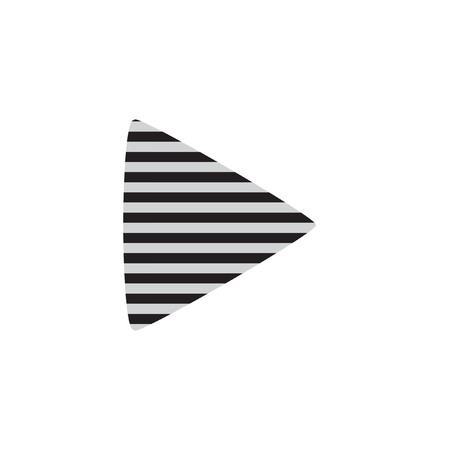 Striped Play Logo Original Vector Design. Black and Grey Stripes Play Icon Isolated on White. Multimedia Button Trendy Look.