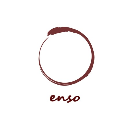 Enso Zen Brush Painted Meditative Symbol Original Vector Illustration. Logo, Emblem Design. Burgundy Brush Drawn Buddhist Sign Isolated on White. Fine Art Element for Your Design Ilustração