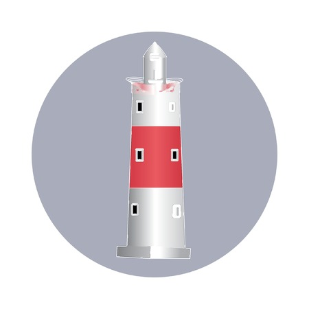 Red and white lighthouse original watercolor sketch. Vector illustration in retro style. Beautiful editable element for your design. Vintage nautical theme card
