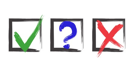 Blue question, red X and green tick check marks, approval signs design. Red X and green OK symbol icons in square check boxes. Check list marks, choice options, test signs. Brush choice marks set
