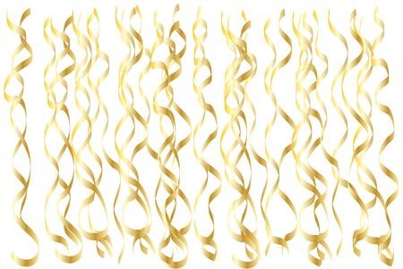 Golden serpentine confetti vector design. Sparkling ribbons pattern. Festive vector background