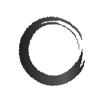 Paint Brush Zen Symbolic Black Circle Isolated on White. Hand Drawn Grunge Enso Symbo. Cool Idea for Logos, Emblems Design. Chinese Meditative Vector Element. Stroke Logo Circle