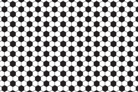 Black and white hexagonal pattern. Black and dotted hexagons texture. Soccer ball ornament. Original honeycomb texture. Vector Illustration. Monochrome geometric background