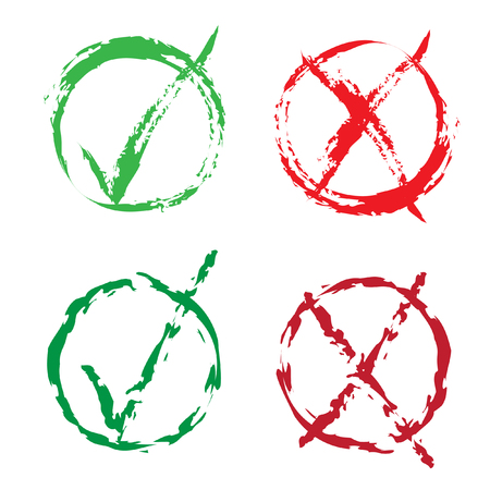 Set of brush red X and green tick check marks, approval signs design. Stroke X and green OK symbol icons in round check boxes. New check list grunge marks, choice options, test, quiz or survey signs. Ilustrace