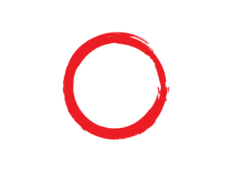 Red Zen Buddhism Symbolic Circle Vector Illustration. Hand Paint Brush Enso Circle Vector Design. Chinese Meditative Symbol Emblem. Original and Trend Logo Design