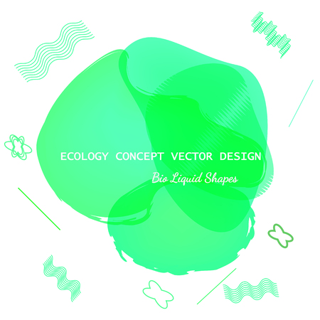 Mint, green bio fluid modern graphic elements. Dynamic liquid forms and lines. Geometric banner with flowing liquid shapes. Vector template for logo, presentation. Original eco concept liquid shapes Illustration