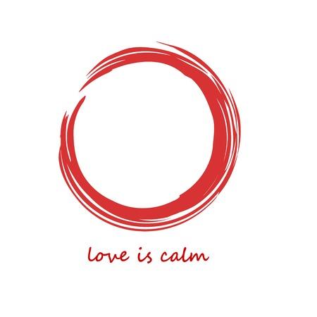 Enso Red Zen Brush Painted Meditative Symbol Original Vector Illustration. Logo, Emblem Design. Brush Drawn Buddhist Sign Isolated on White. Fine Art Element for Your Design. Enso Grunge Circle