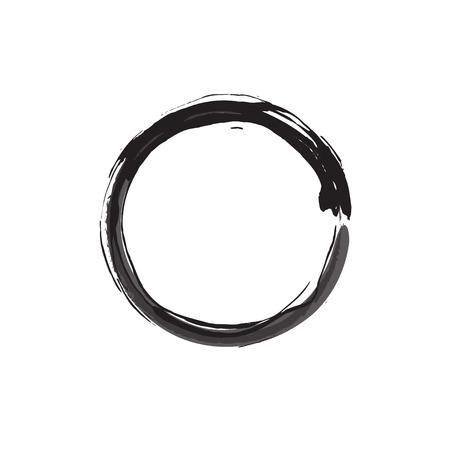 Enso Black Zen Brush Painted Meditative Symbol Original Vector Illustration. Logo, Emblem Design. Brush Drawn Buddhist Sign Isolated on White. Fine Art Element for Your Design. Enso Grunge Circle