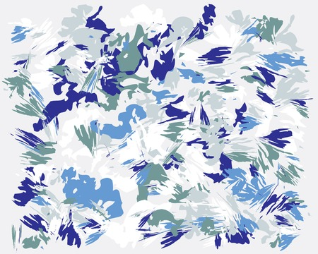 Oil hand drawn brush painting in winter colors. Blue Watercolor abstract brush painted vector illustration. Brush stokes painting, color splashing. Expressive spray image for wallpapers and postcard