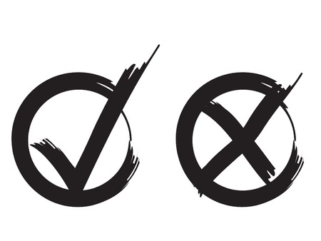 New ink test marks design original vector illustration. Completely new black grunge stroke tick and cross signs. Grunge check mark OK and X icons, isolated on white. Square shape symbols YES and NO