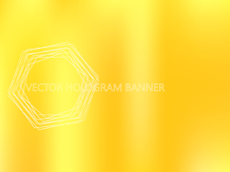 Golden shiny foil paper. Holographic Gold Vector Background. Iridescent Foil. Glitch Gradient Hologram. Sunny Yellow Blur Template. Ultraviolet metallic paper. Cover to web design.