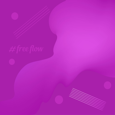 Liquid, flow, fluid vector background. Fluid colors shapes. Design for gift card,cover,poster. Wall poster design. Fluid colorful shapes composition. Eps10. Dynamic futuristic shape in violet magenta Ilustração