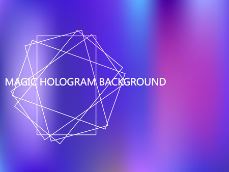 Holographic background in blue, pink, purple, violet colors. Iridescent hologram mesh vector backdrop. Holographic gradient foil banner. Abstract blurred wallpaper background. Modern vector design.