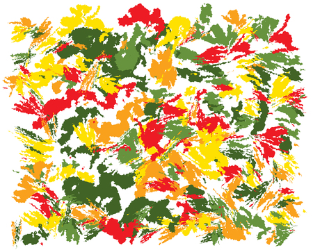 Oil hand drawn brush autumn colors painting. Watercolor abstract brush painted vector illustration. Brush stokes painting, color splashing. Expressive spray image for wallpapers and postcards. Ilustração
