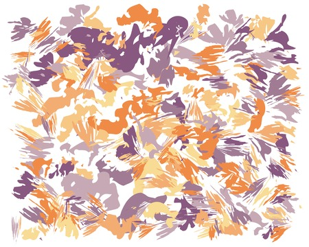 Oil hand drawn brush painting in orange and violet. Watercolor abstract brush painted vector illustration. Brush stokes painting, color splashing. Expressive spray image for wallpaper and postcard