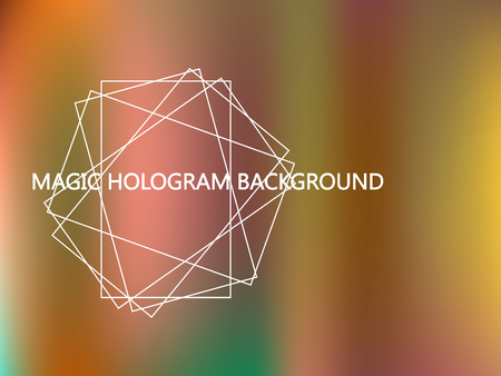 Shiny foil paper. Holographic Platinum, Orange, Green Vector Background. Iridescent Foil. Glitch Hologram. Bright neon rainbow. Ultraviolet metallic paper. Cover to web design. Abstract gradient. Ilustração