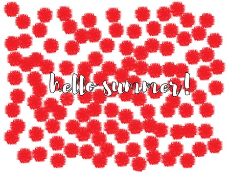 Blossom flowers confetti vector design. Funky red flowers isolated on white original illustration. Falling floral confetti pattern totally new design. Words hello and summer with red flowers