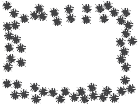 Blossom black flowers confetti vector design. Border from falling floral confetti. Funky flowers original illustration. Floral pattern totally new design. Square original monochrome frame
